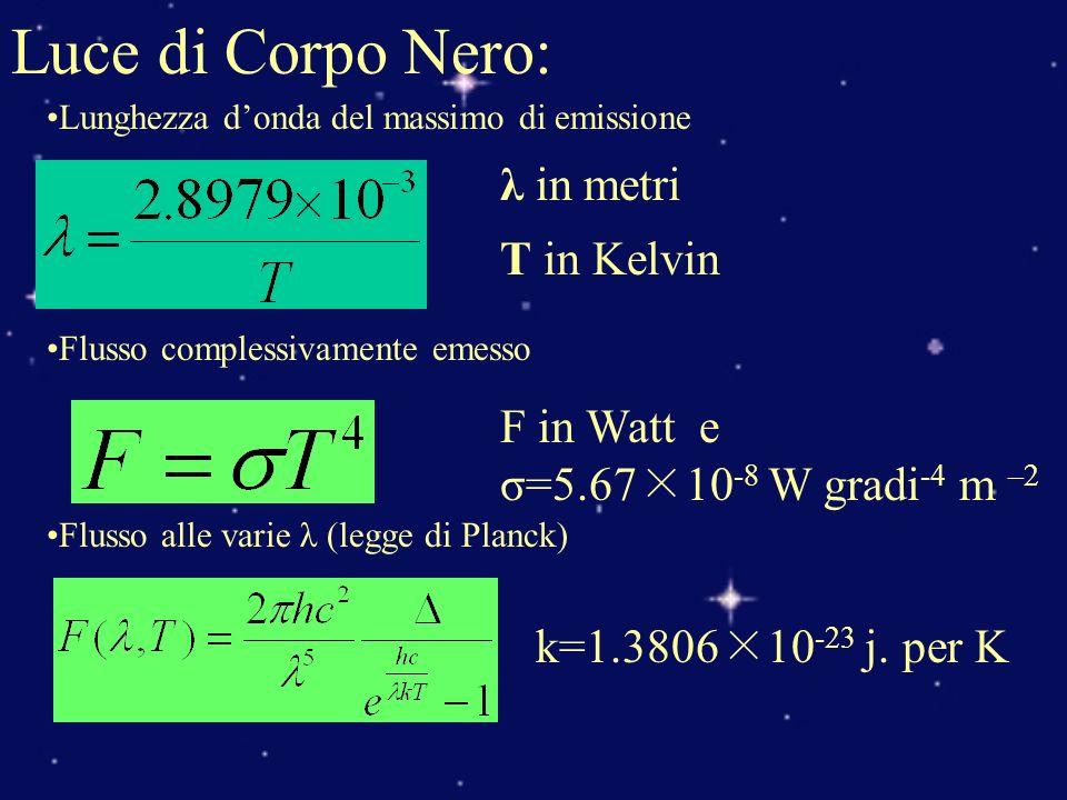 Luce di Corpo Nero: λ in metri T in Kelvin F in Watt e