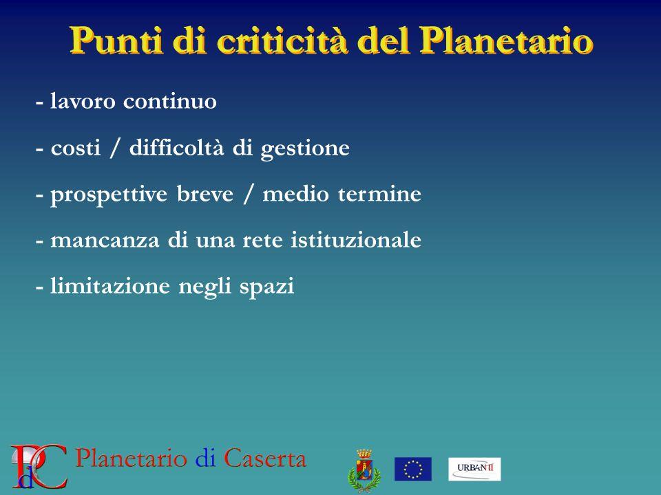 Punti di criticità del Planetario