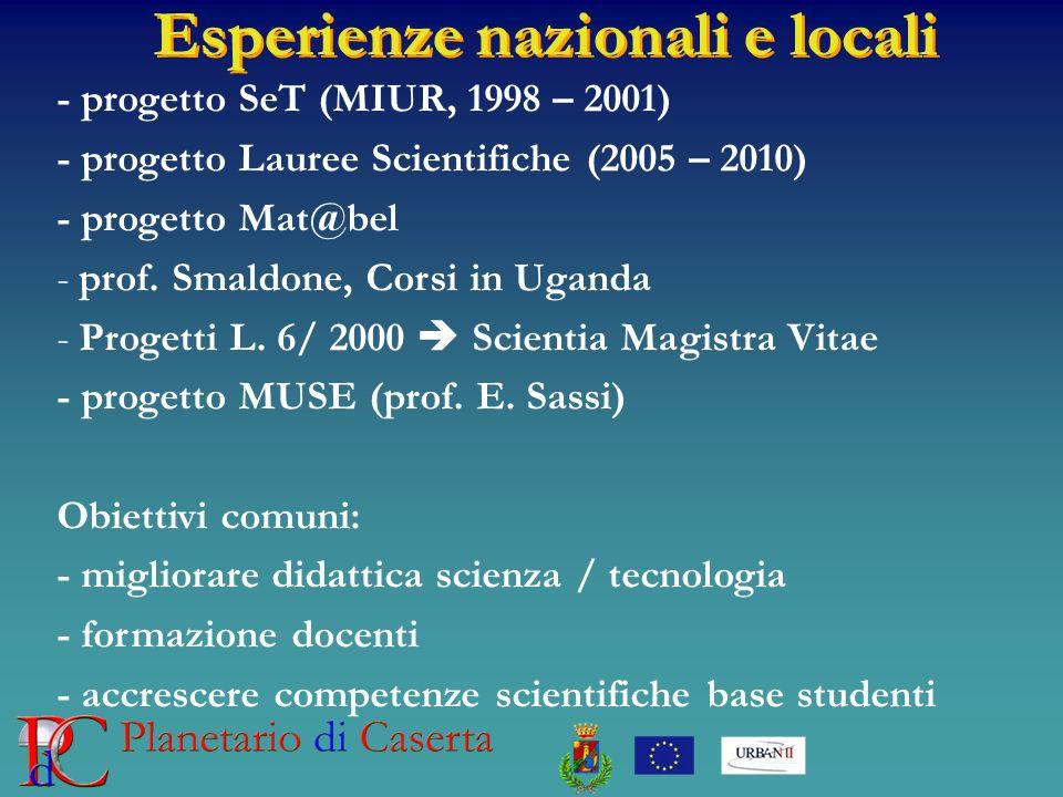 Esperienze nazionali e locali
