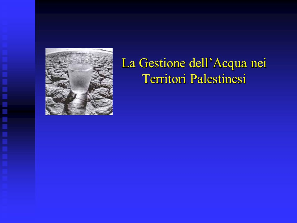 La Gestione dell'Acqua nei Territori Palestinesi