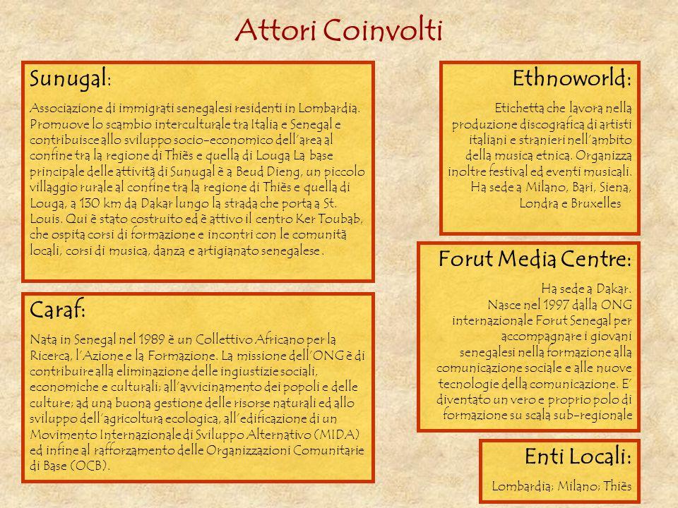 Attori Coinvolti Sunugal: Ethnoworld: Forut Media Centre: Caraf: