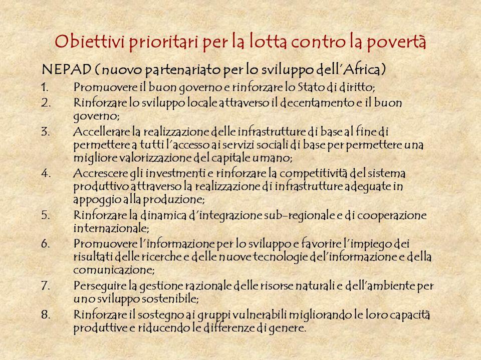 Obiettivi prioritari per la lotta contro la povertà