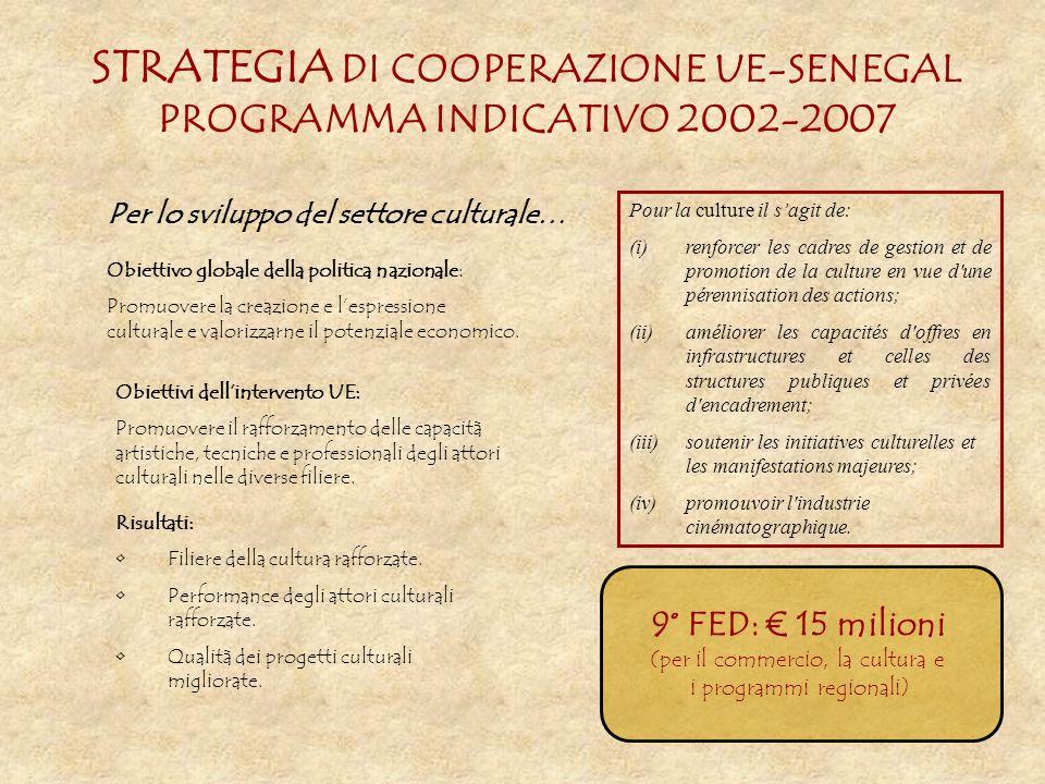 STRATEGIA DI COOPERAZIONE UE-SENEGAL PROGRAMMA INDICATIVO 2002-2007