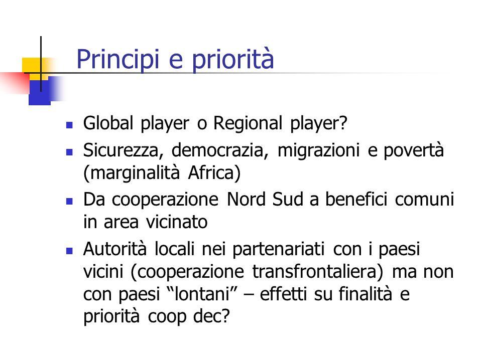 Principi e priorità Global player o Regional player