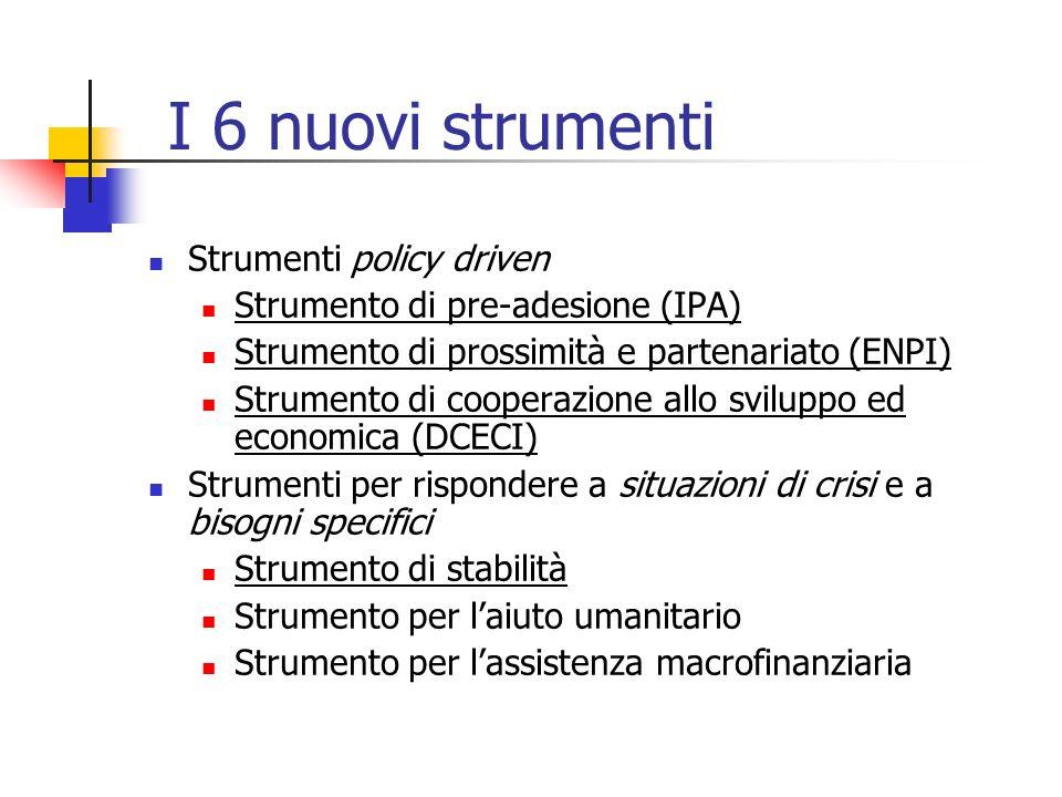 I 6 nuovi strumenti Strumenti policy driven