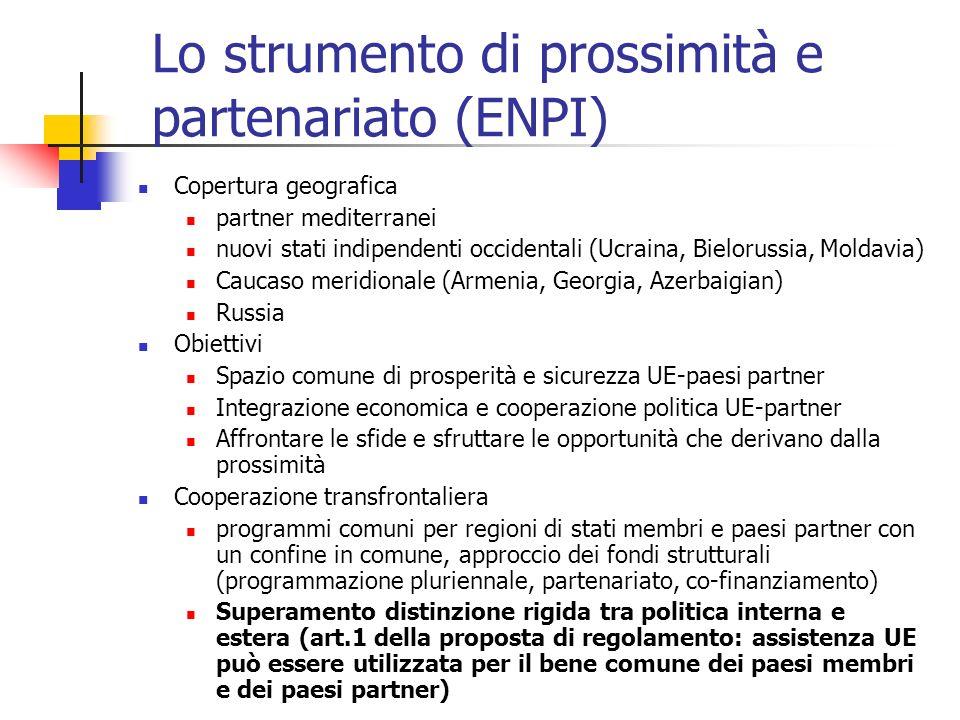 Lo strumento di prossimità e partenariato (ENPI)