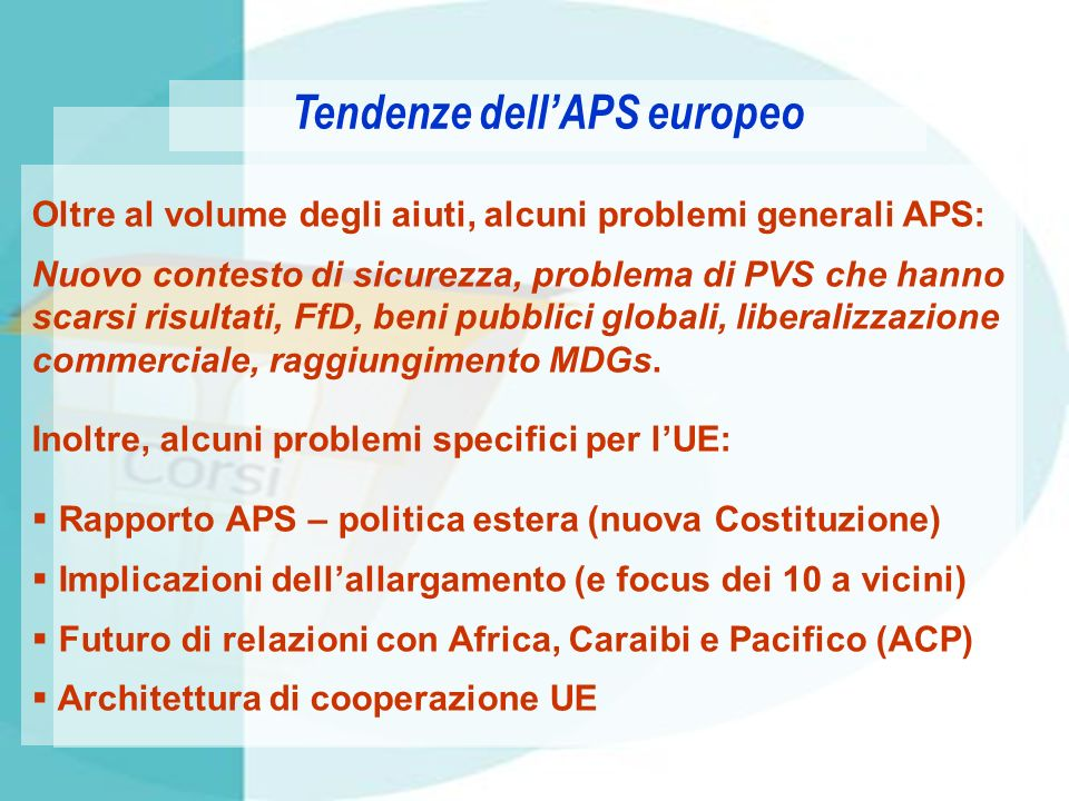 Tendenze dell'APS europeo