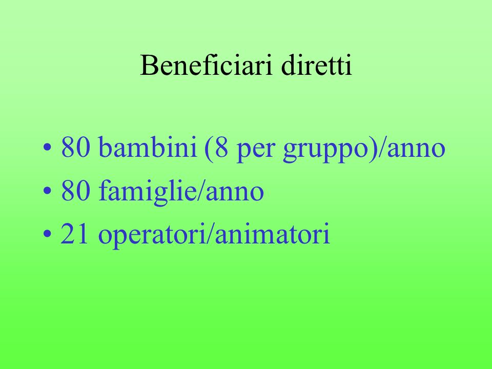 Beneficiari diretti 80 bambini (8 per gruppo)/anno 80 famiglie/anno 21 operatori/animatori