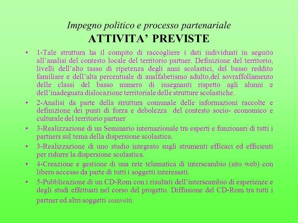 Impegno politico e processo partenariale ATTIVITA' PREVISTE