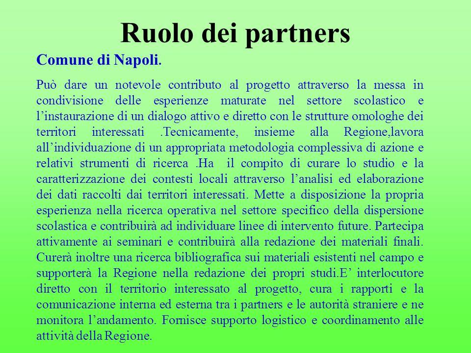 Ruolo dei partners Comune di Napoli.