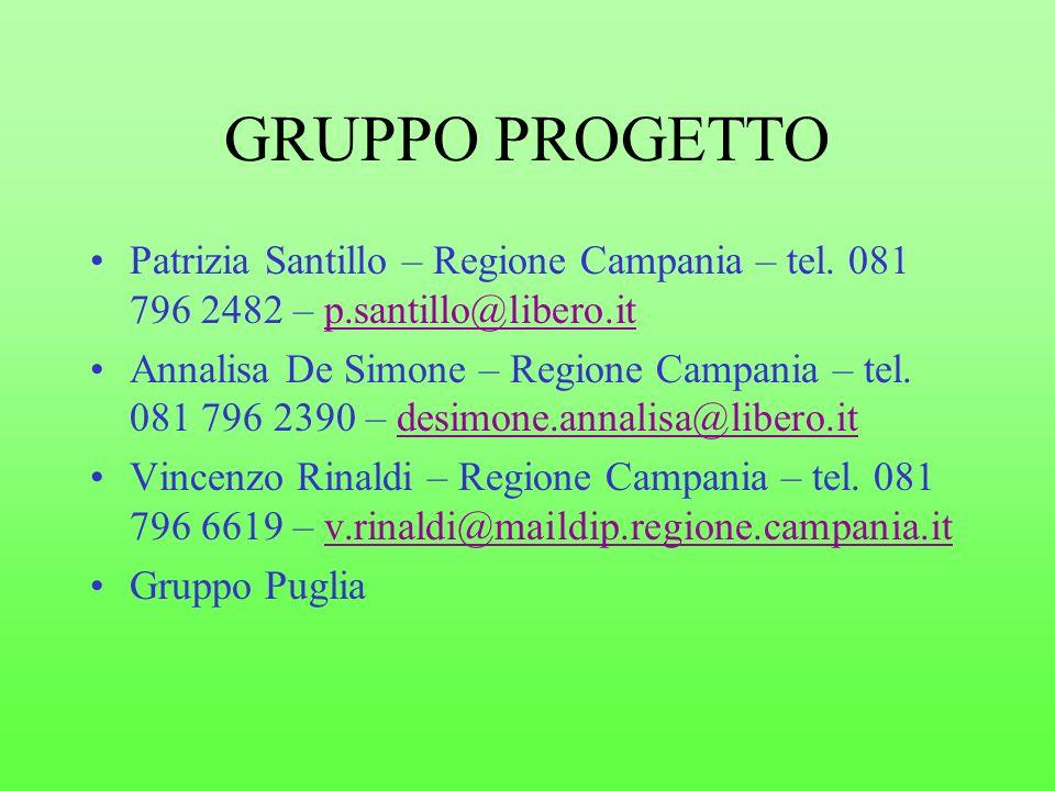 GRUPPO PROGETTO Patrizia Santillo – Regione Campania – tel. 081 796 2482 – p.santillo@libero.it.