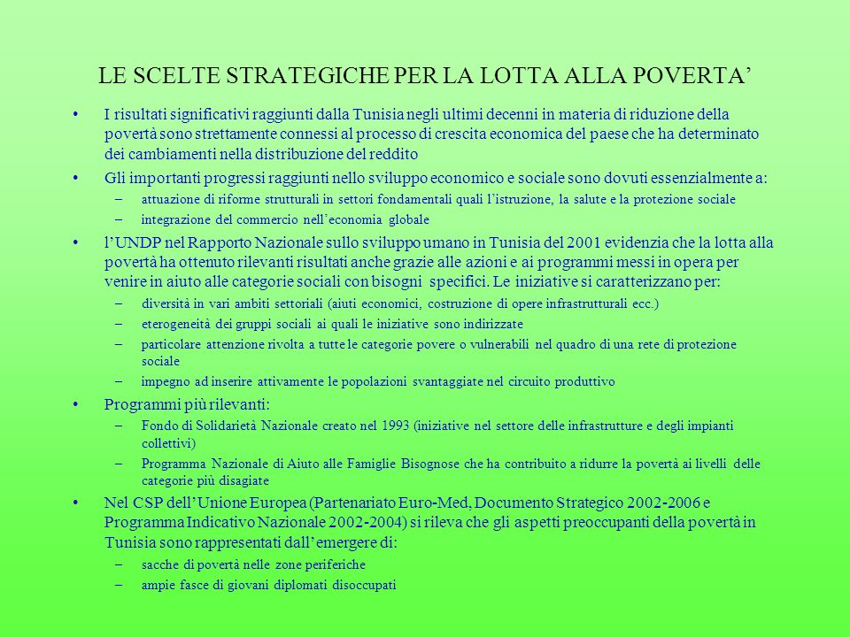 LE SCELTE STRATEGICHE PER LA LOTTA ALLA POVERTA'