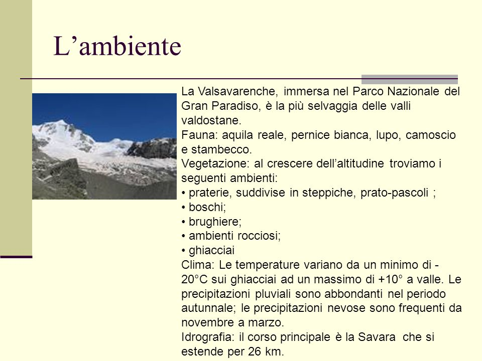 L'ambiente La Valsavarenche, immersa nel Parco Nazionale del Gran Paradiso, è la più selvaggia delle valli valdostane.