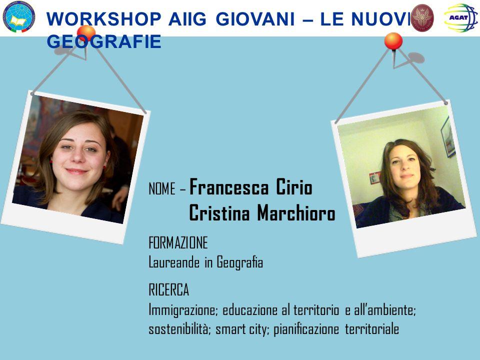 Cristina Marchioro Workshop aiig giovani – le nuove geografie