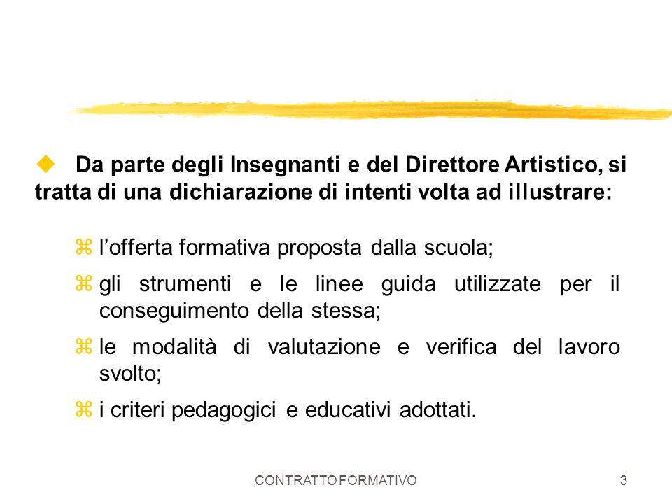 l'offerta formativa proposta dalla scuola;