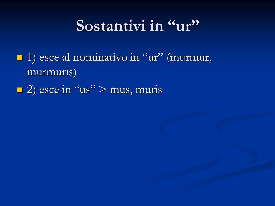 Sostantivi in ur 1) esce al nominativo in ur (murmur, murmuris)