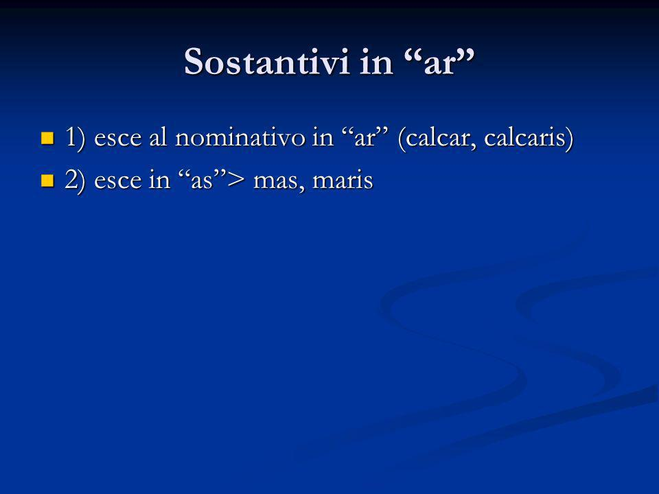 Sostantivi in ar 1) esce al nominativo in ar (calcar, calcaris)