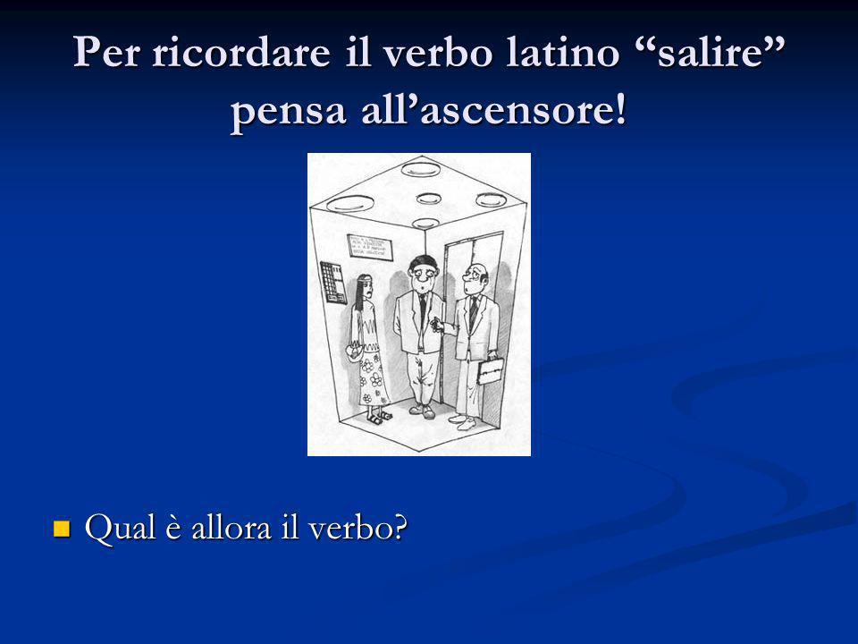 Per ricordare il verbo latino salire pensa all'ascensore!