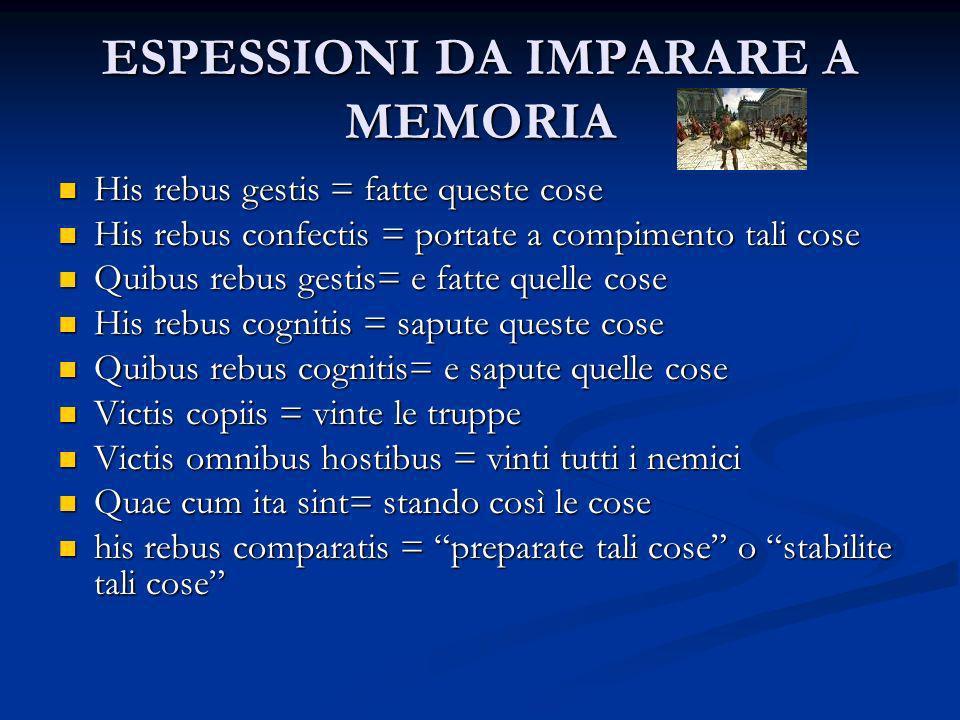 ESPESSIONI DA IMPARARE A MEMORIA