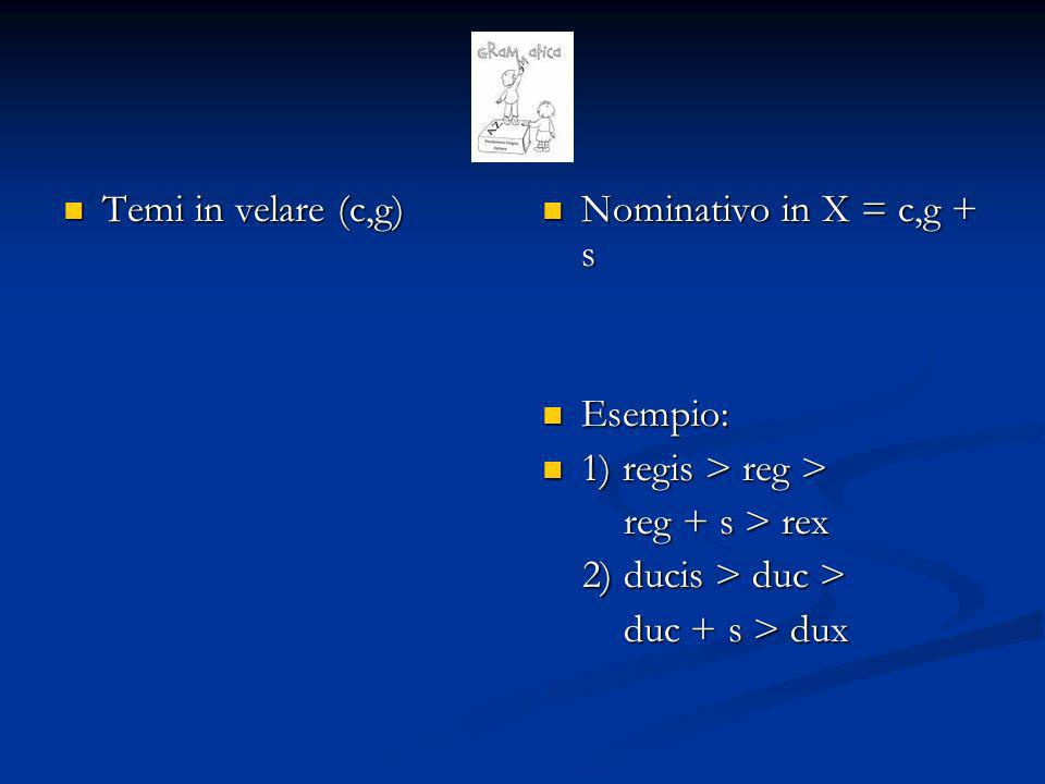 Temi in velare (c,g) Nominativo in X = c,g + s. Esempio: 1) regis > reg > reg + s > rex. 2) ducis > duc >