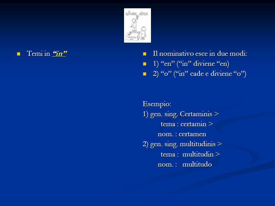 Temi in in Il nominativo esce in due modi: 1) en ( in diviene en) 2) o ( in cade e diviene o )