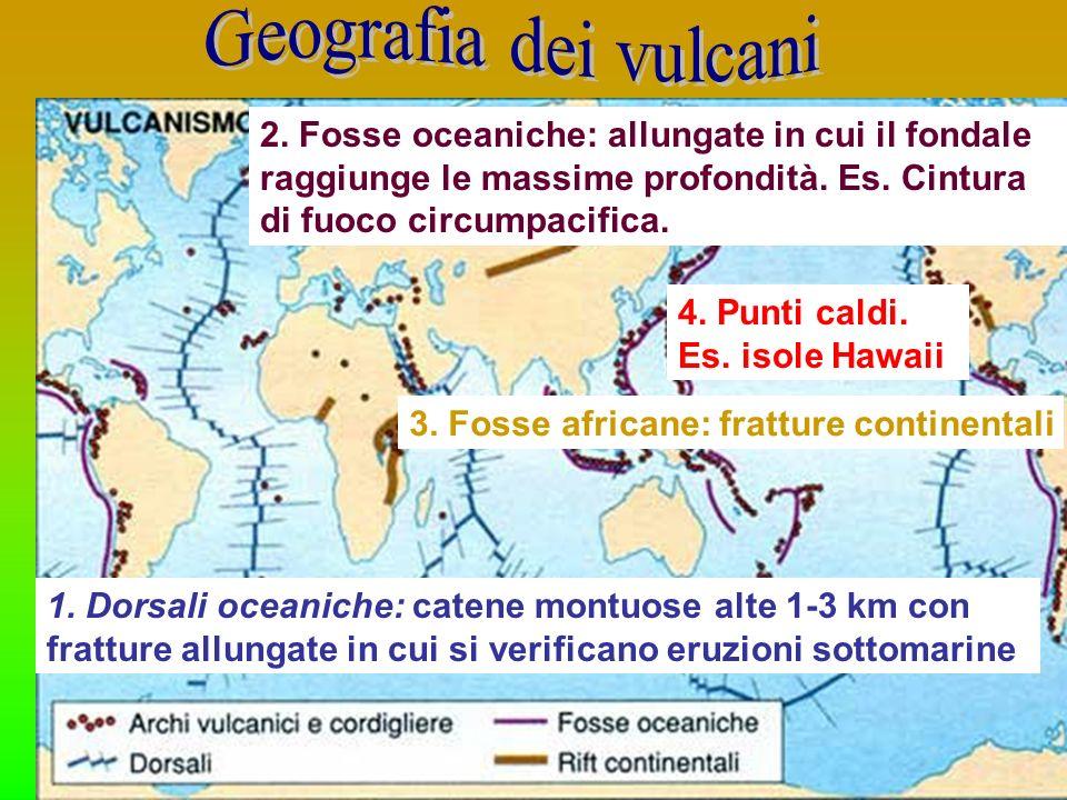 Geografia dei vulcani 2. Fosse oceaniche: allungate in cui il fondale raggiunge le massime profondità. Es. Cintura di fuoco circumpacifica.