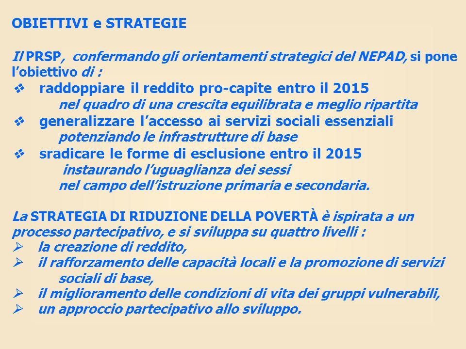 OBIETTIVI e STRATEGIE Il PRSP, confermando gli orientamenti strategici del NEPAD, si pone l'obiettivo di :