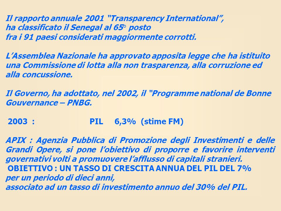Il rapporto annuale 2001 Transparency International ,