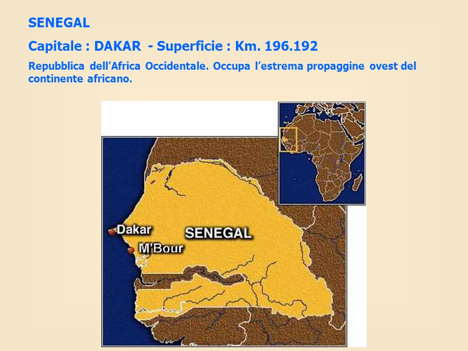 Capitale : DAKAR - Superficie : Km. 196.192