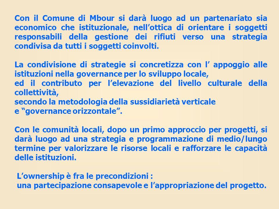 Con il Comune di Mbour si darà luogo ad un partenariato sia economico che istituzionale, nell'ottica di orientare i soggetti responsabili della gestione dei rifiuti verso una strategia condivisa da tutti i soggetti coinvolti.