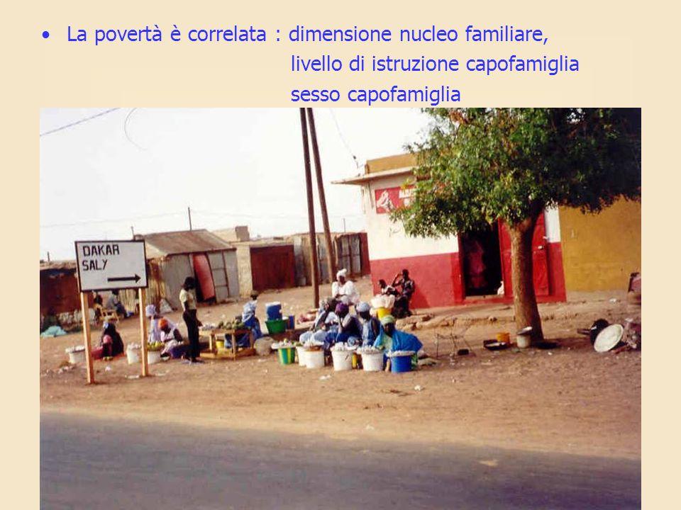 La povertà è correlata : dimensione nucleo familiare,