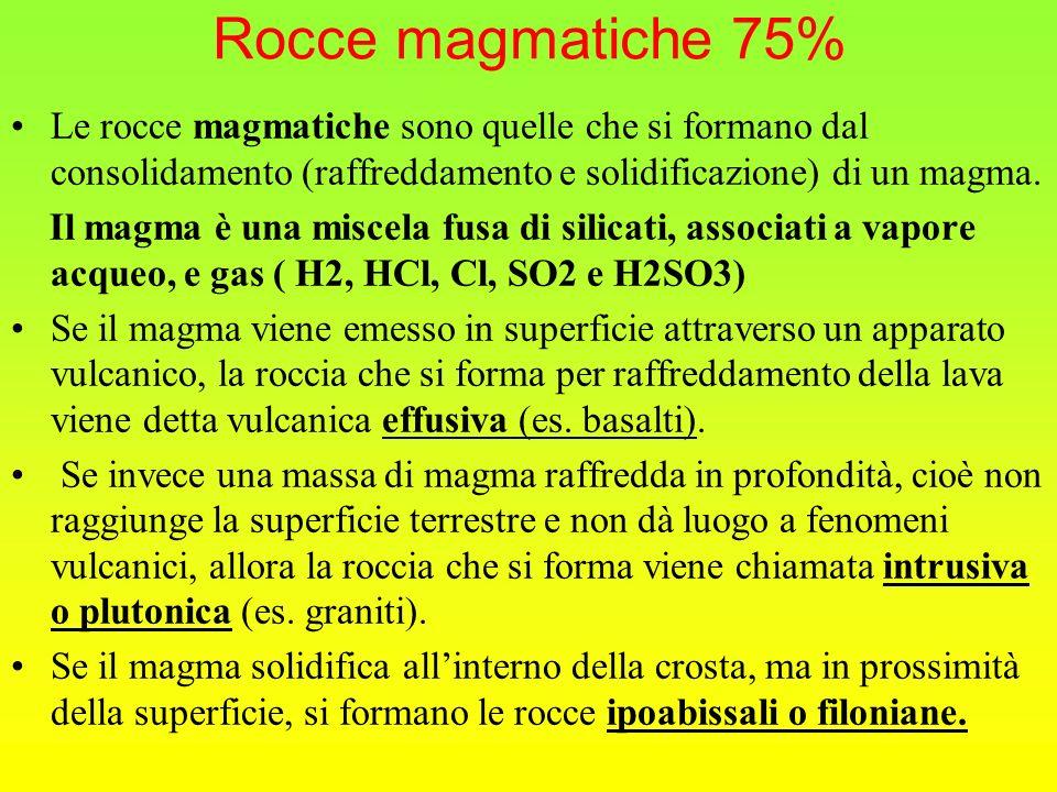 Rocce magmatiche 75% Le rocce magmatiche sono quelle che si formano dal consolidamento (raffreddamento e solidificazione) di un magma.
