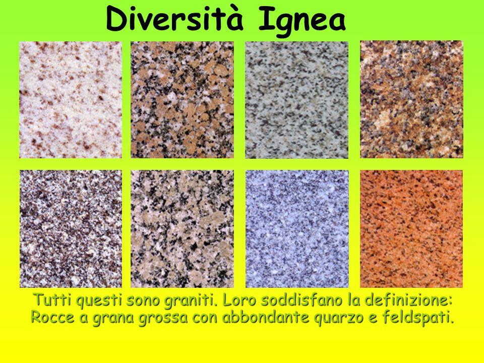 Diversità Ignea Tutti questi sono graniti.