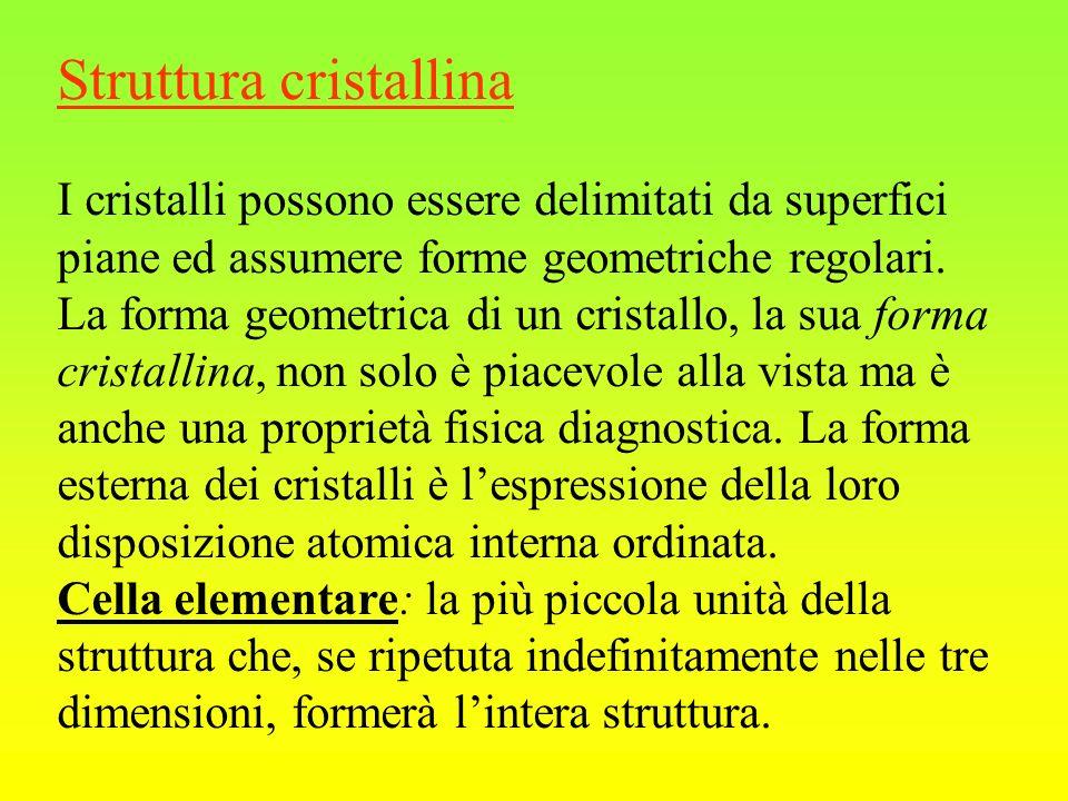 Struttura cristallina I cristalli possono essere delimitati da superfici piane ed assumere forme geometriche regolari.