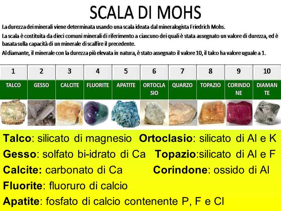 Talco: silicato di magnesio Ortoclasio: silicato di Al e K