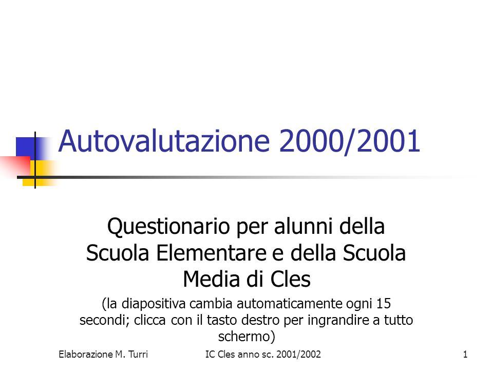 Autovalutazione 2000/2001 Questionario per alunni della Scuola Elementare e della Scuola Media di Cles.