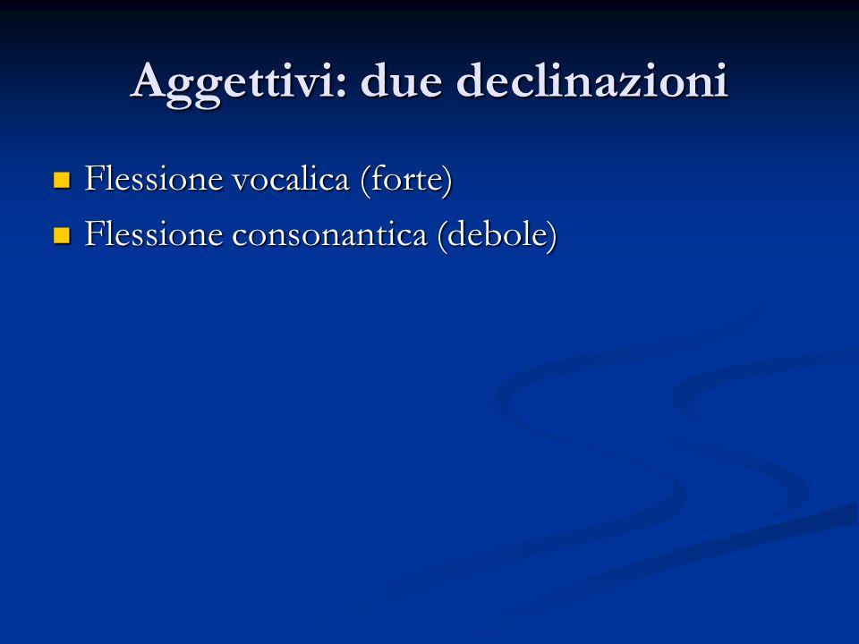 Aggettivi: due declinazioni