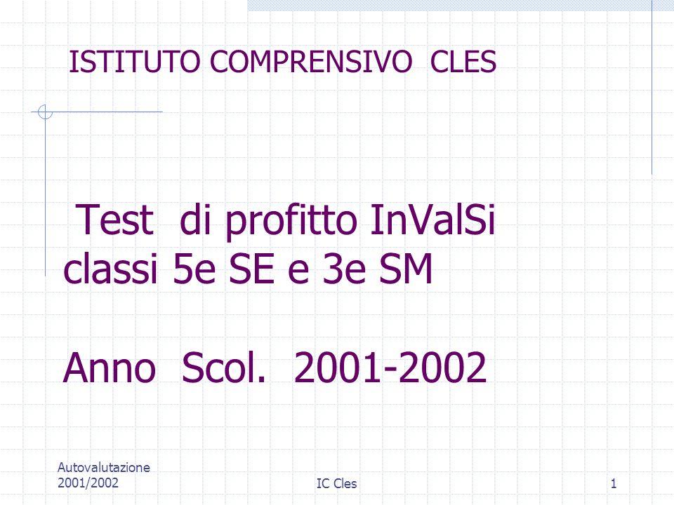 Test di profitto InValSi classi 5e SE e 3e SM Anno Scol. 2001-2002