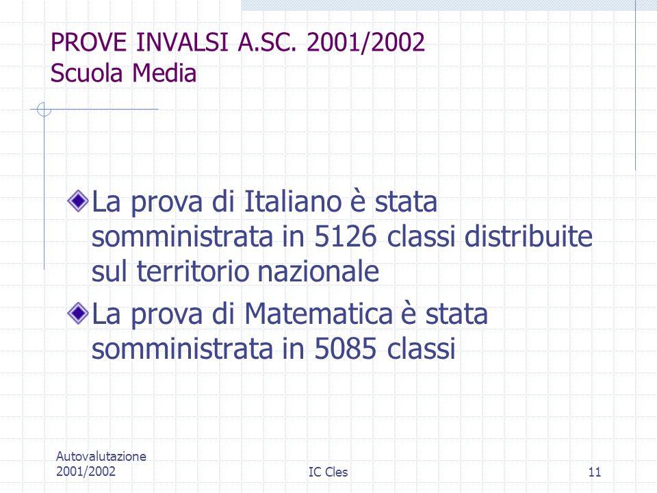 PROVE INVALSI A.SC. 2001/2002 Scuola Media