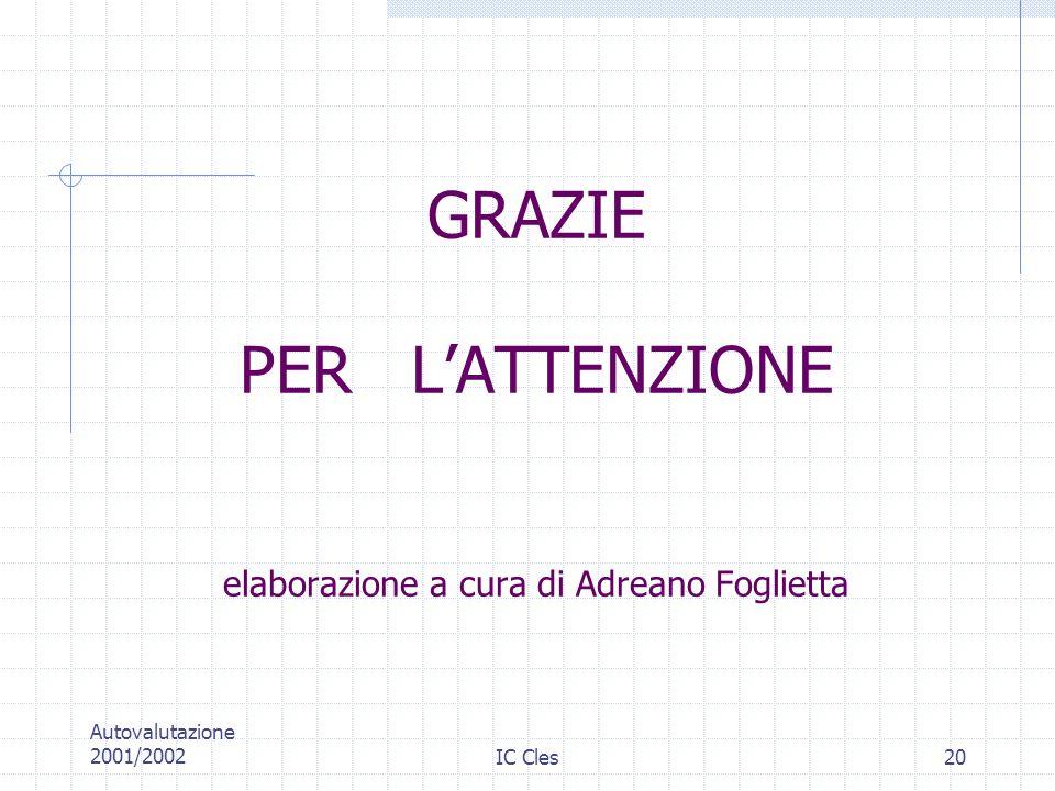 GRAZIE PER L'ATTENZIONE elaborazione a cura di Adreano Foglietta