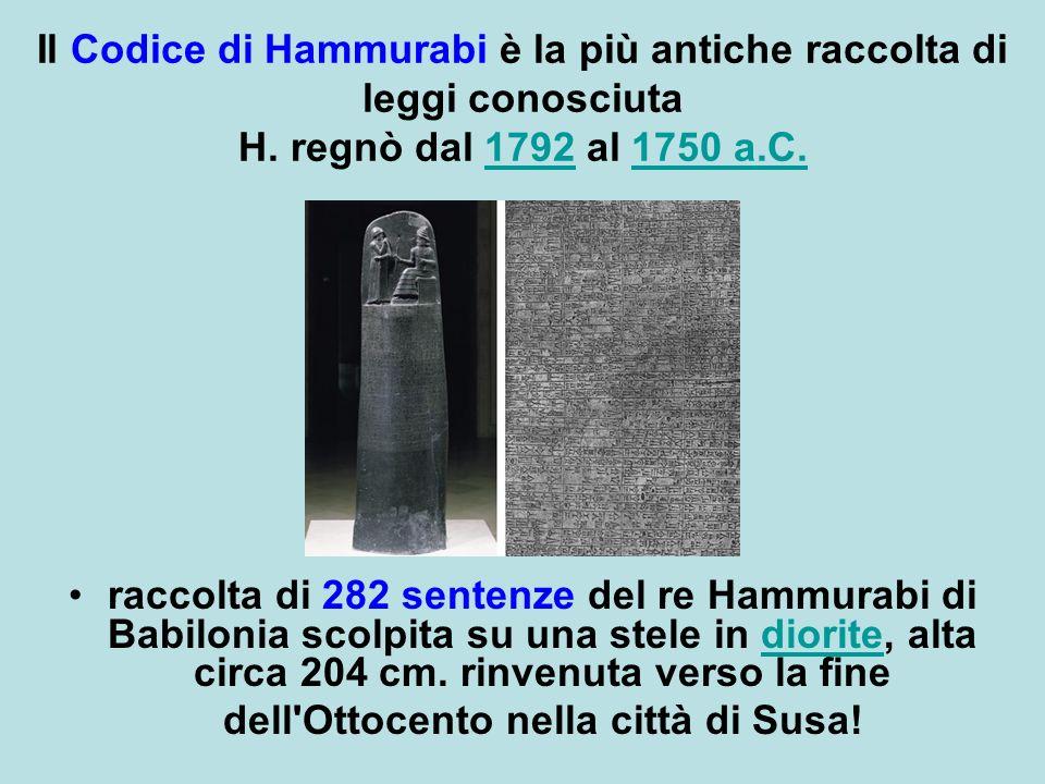 Il Codice di Hammurabi è la più antiche raccolta di leggi conosciuta H