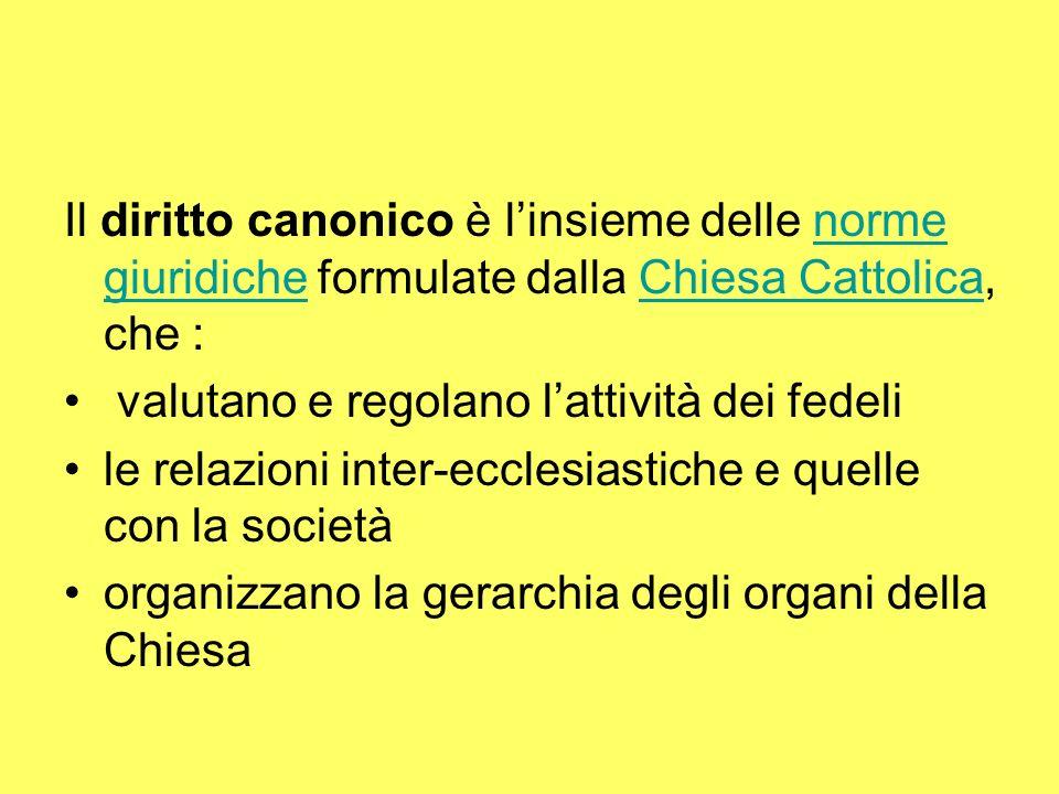 Il diritto canonico è l'insieme delle norme giuridiche formulate dalla Chiesa Cattolica, che :