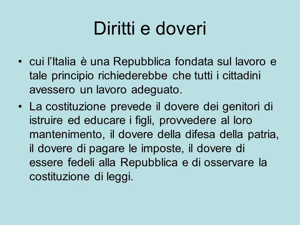 Diritti e doveri cui l'Italia è una Repubblica fondata sul lavoro e tale principio richiederebbe che tutti i cittadini avessero un lavoro adeguato.