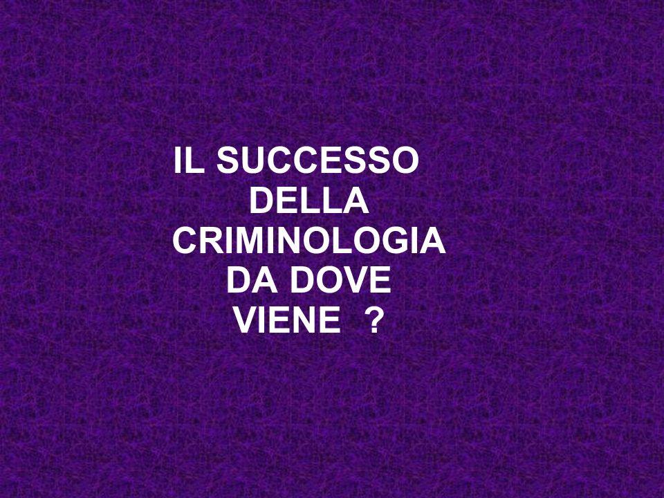 IL SUCCESSO DELLA CRIMINOLOGIA DA DOVE VIENE