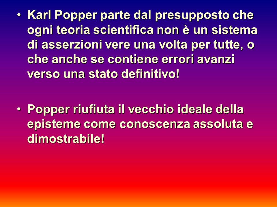 Karl Popper parte dal presupposto che ogni teoria scientifica non è un sistema di asserzioni vere una volta per tutte, o che anche se contiene errori avanzi verso una stato definitivo!