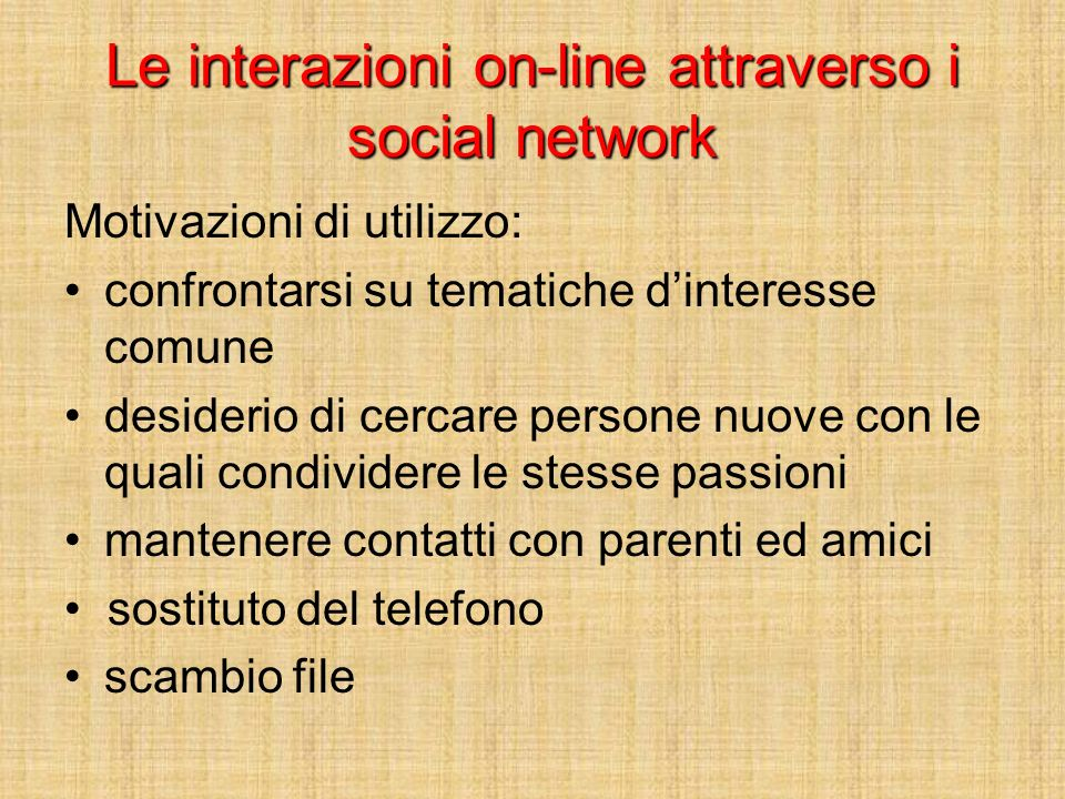 Le interazioni on-line attraverso i social network