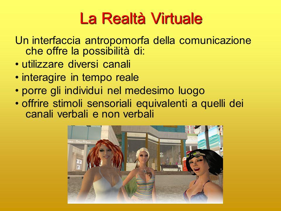 La Realtà Virtuale Un interfaccia antropomorfa della comunicazione che offre la possibilità di: • utilizzare diversi canali.