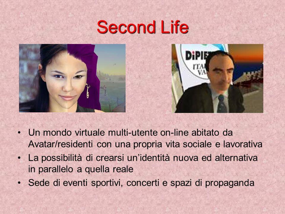 Second Life Un mondo virtuale multi-utente on-line abitato da Avatar/residenti con una propria vita sociale e lavorativa.