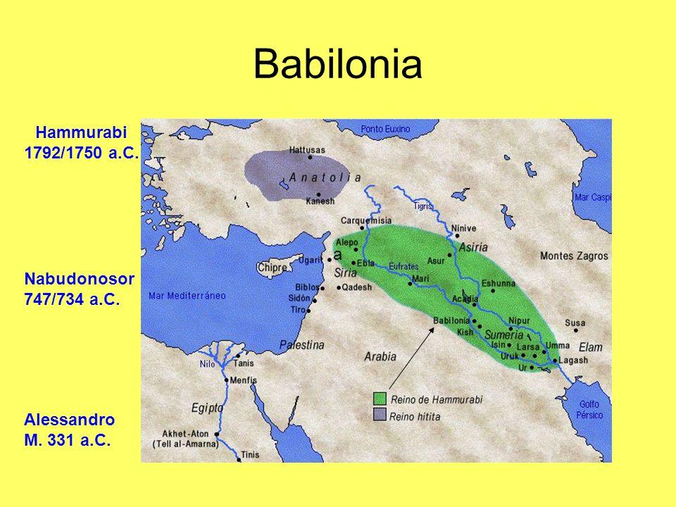 Babilonia Hammurabi 1792/1750 a.C. a Nabudonosor 747/734 a.C.