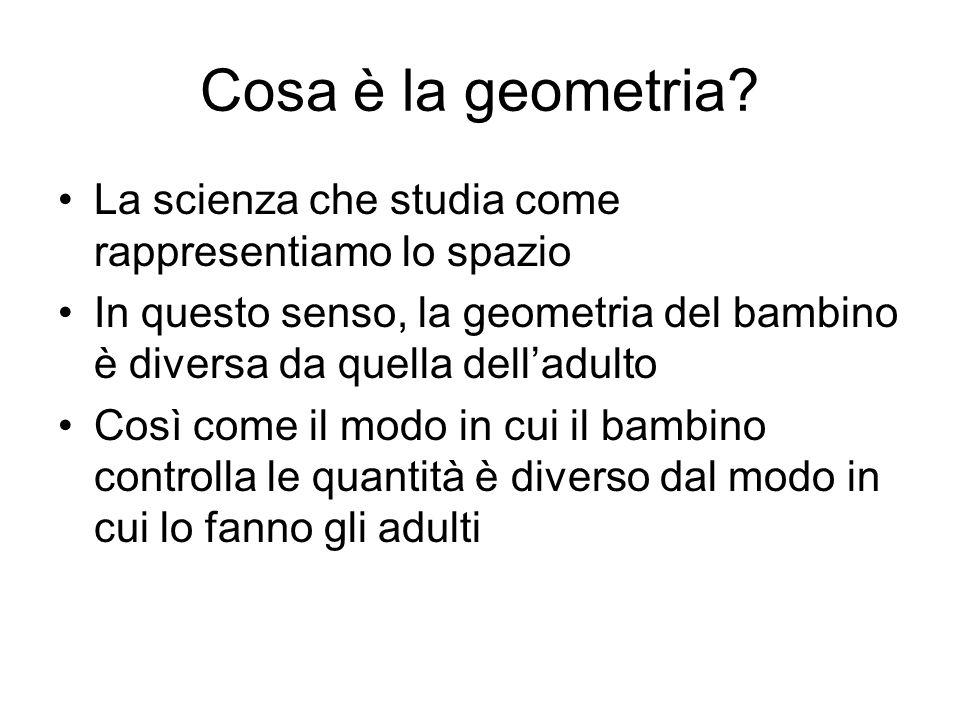 Cosa è la geometria La scienza che studia come rappresentiamo lo spazio. In questo senso, la geometria del bambino è diversa da quella dell'adulto.